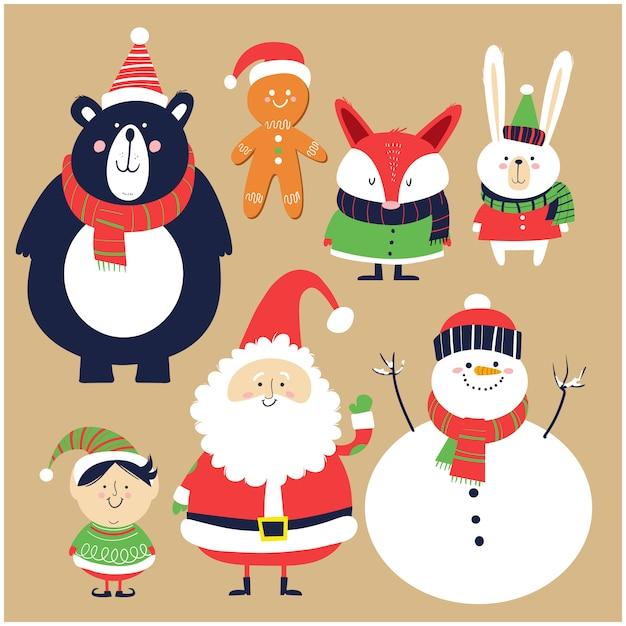 Santa claus, schneemann, elfe und waldtiere im cartoon-stil Premium Vektoren