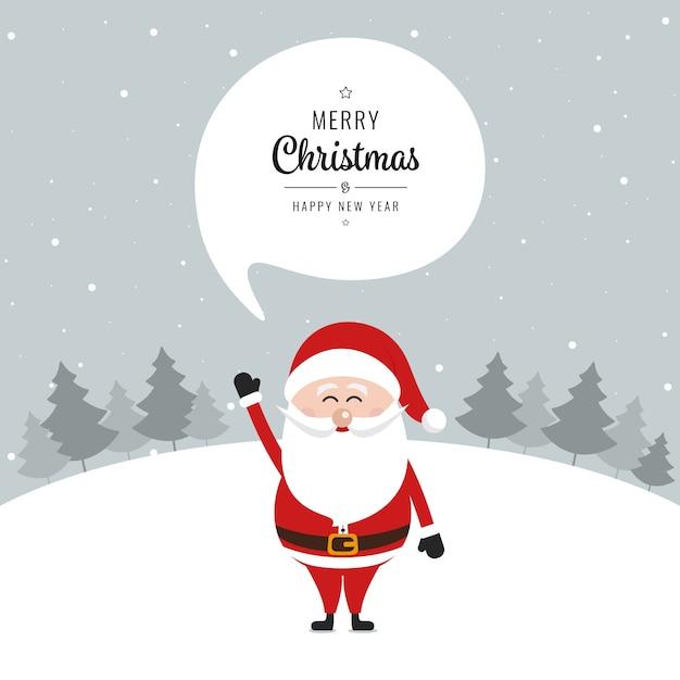 Frohe Weihnachten Grüße.Santa Claus Sprechblase Frohe Weihnachten Gruß Text Schnee