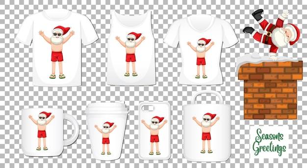 Santa claus tanzende zeichentrickfigur mit satz verschiedener kleidung und zubehörprodukte auf transparentem hintergrund Kostenlosen Vektoren