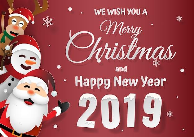 Frohe Weihnachten An Freunde.Santa Claus Und Freunde Frohe Weihnachten Und Ein Glückliches Neues