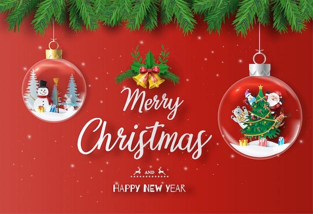 Santa claus und freunde mit weihnachtsbaum in der weihnachtskugel. Premium Vektoren
