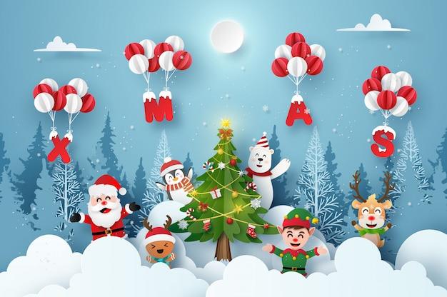 Santa claus und niedliche zeichentrickfilm-figur im weihnachtsfest mit weihnachtsballon Premium Vektoren