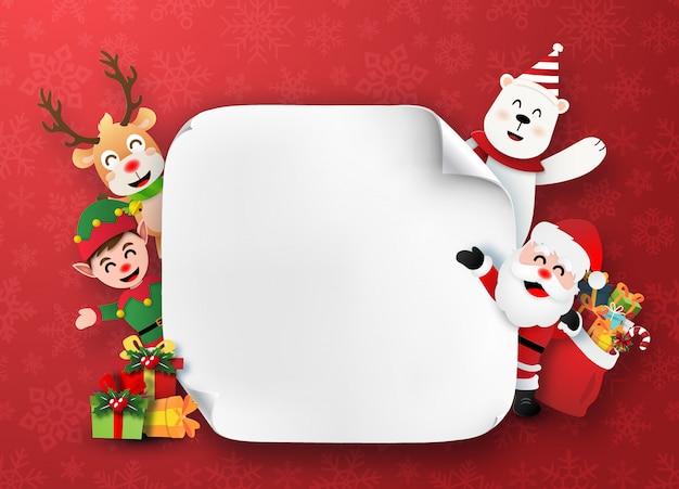 Santa claus- und weihnachtscharaktere mit weißem leerem papier Premium Vektoren