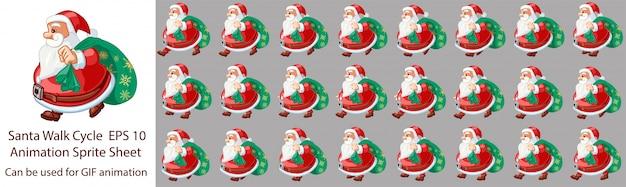 Santa claus walk cycle animation Premium Vektoren