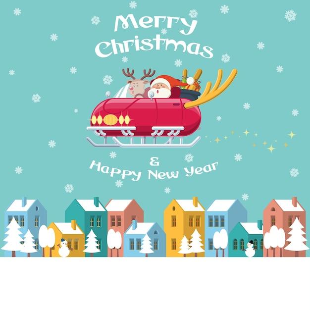 Santa fliegenden schlitten auto über winter stadt Premium Vektoren