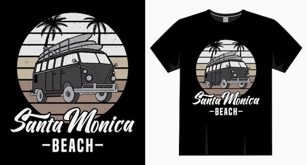 Santa monica beach typografie mit van und palm t-shirt Premium Vektoren