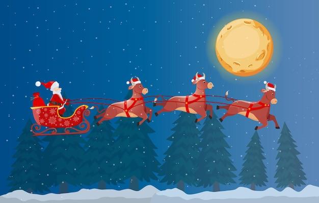 Santa on sleigh und seine fliegenden drei bullen in der winterwaldnacht Premium Vektoren