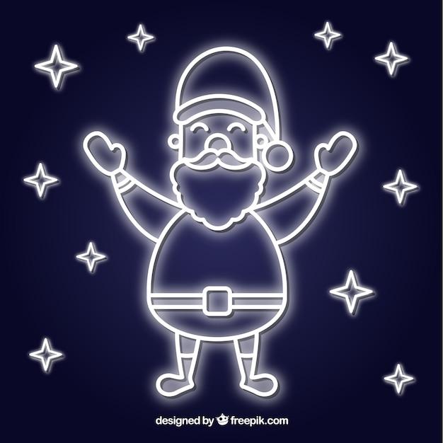 Santa's silhouette in neon Kostenlosen Vektoren