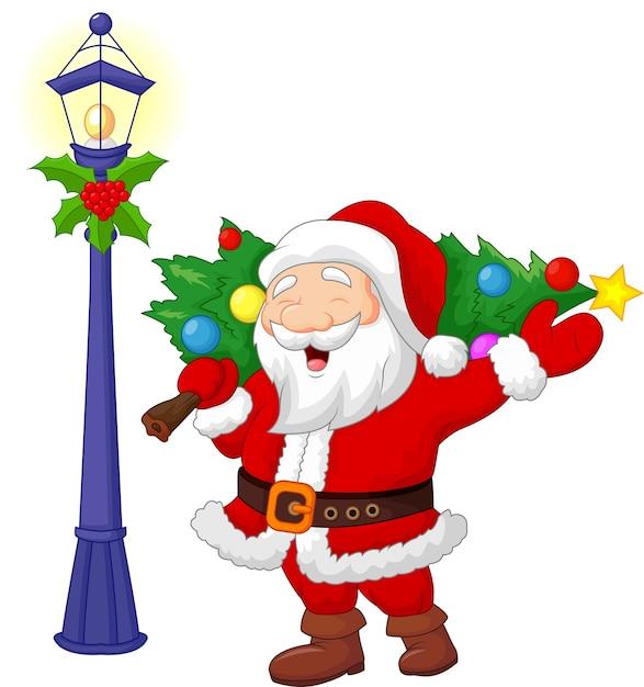 Santa trägt einen weihnachtsbaum Premium Vektoren