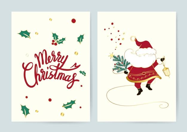 Santa und frohe weihnachten karten vektor Kostenlosen Vektoren