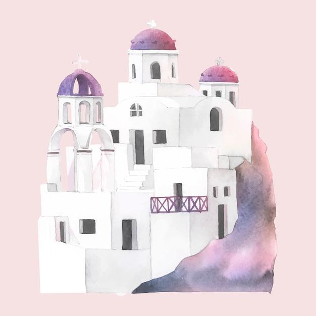 Santorini-cycladic bringt aquarellillustration unter Kostenlosen Vektoren