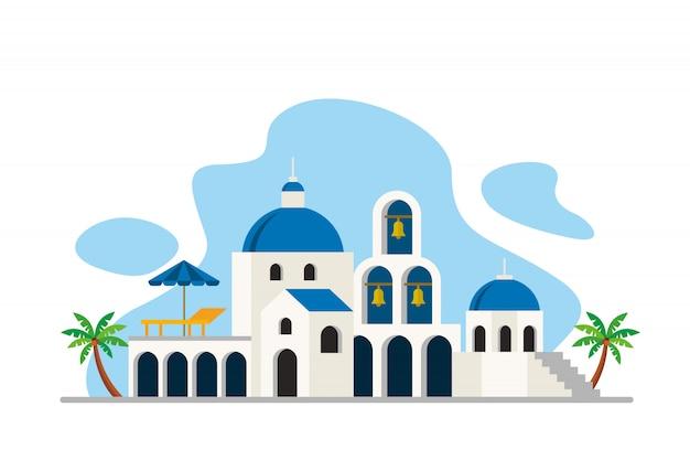 Santorini-seeinsel-marksteinhintergrund Premium Vektoren