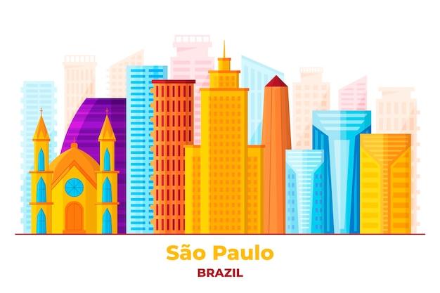 Sao paulo skyline von sehenswürdigkeiten Kostenlosen Vektoren