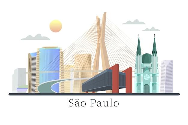 Sao paulo wahrzeichen futuristische stadt Kostenlosen Vektoren