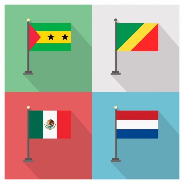 São Tomé und Príncipe Republik Kongo Mexiko und Holland Flaggen Kostenlose Vektoren
