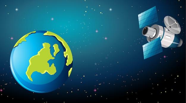 Satellit in der raumszene Kostenlosen Vektoren
