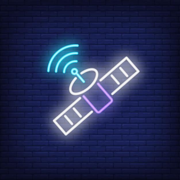 Satelliten- und signalsymbol leuchtreklame Kostenlosen Vektoren
