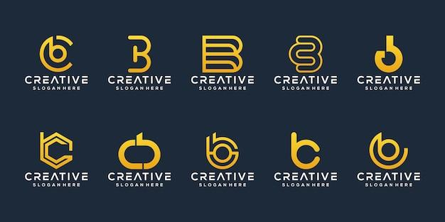Satz abstrakte anfangsbuchstaben bc logo-vorlage Premium Vektoren