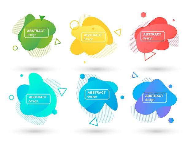 Satz abstrakte flüssigkeit formt moderne grafische elemente Premium Vektoren