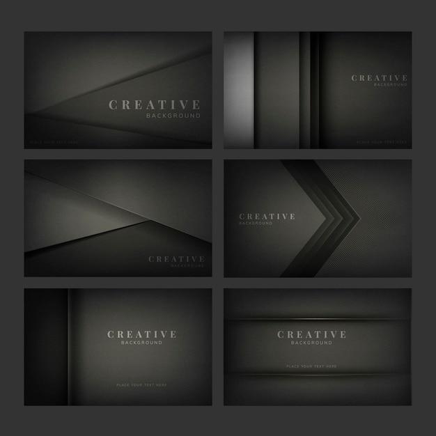Satz abstrakte kreative hintergrunddesigne im schwarzen Kostenlosen Vektoren