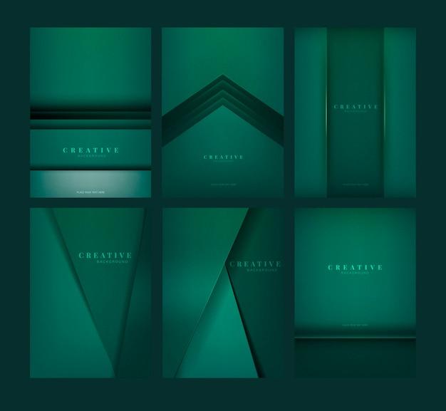 Satz abstrakte kreative hintergrunddesigne im smaragdgrün Kostenlosen Vektoren