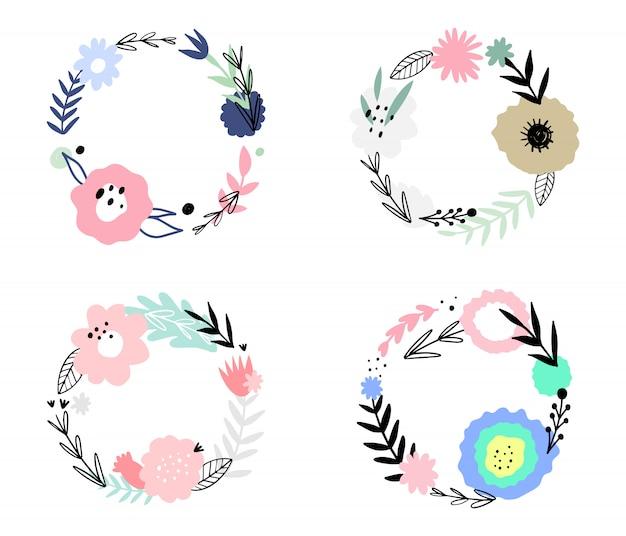 Satz abstrakte mit blumenrahmen. hand gezeichnet, doodle pflanzen Premium Vektoren