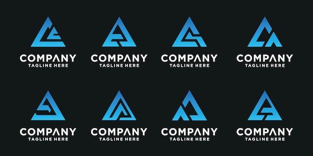Satz abstrakter anfangsbuchstabe c, ca logo-vorlage. ikonen für luxusgeschäfte, elegant, einfach. Premium Vektoren