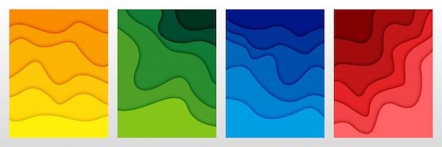 Satz abstrakter hintergrund 3d und papierschnittformen Premium Vektoren