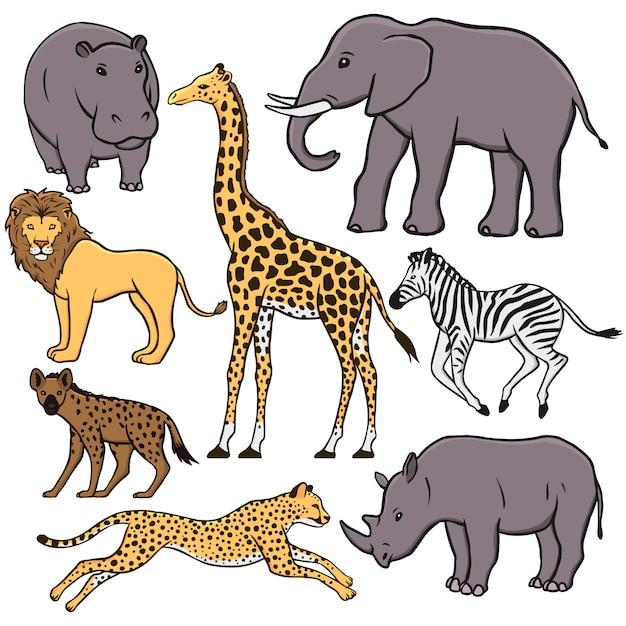 Satz afrikanische tiere: nilpferd, elefant, löwe, giraffe, zebra, hyäne, gepard, nashorn Premium Vektoren