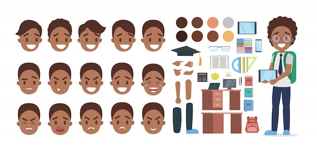 Satz afroamerikaner-schuljungencharakter im anzug mit verschiedenen posen, gesichtsemotionen und gesten. Premium Vektoren