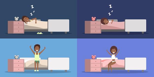 Satz afroamerikanerfrau und -mann, die im bett schlafen und in einer guten stimmung aufwachen. ruhe dich im schlafzimmer aus und erwache morgens. flache vektorillustration Premium Vektoren