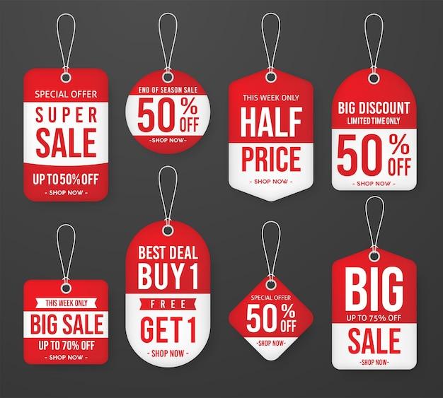 Satz aktionsverkaufs-preisschild-aufkleberschablone Premium Vektoren