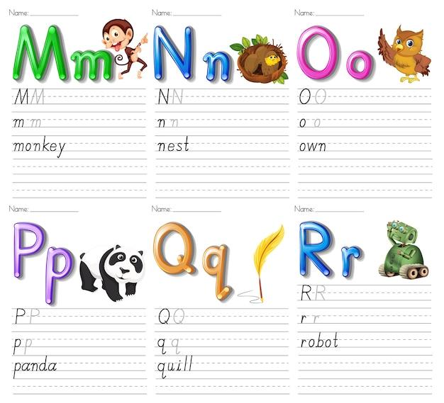Satz alphabet arbeitsblatt auf weißem papier Kostenlosen Vektoren