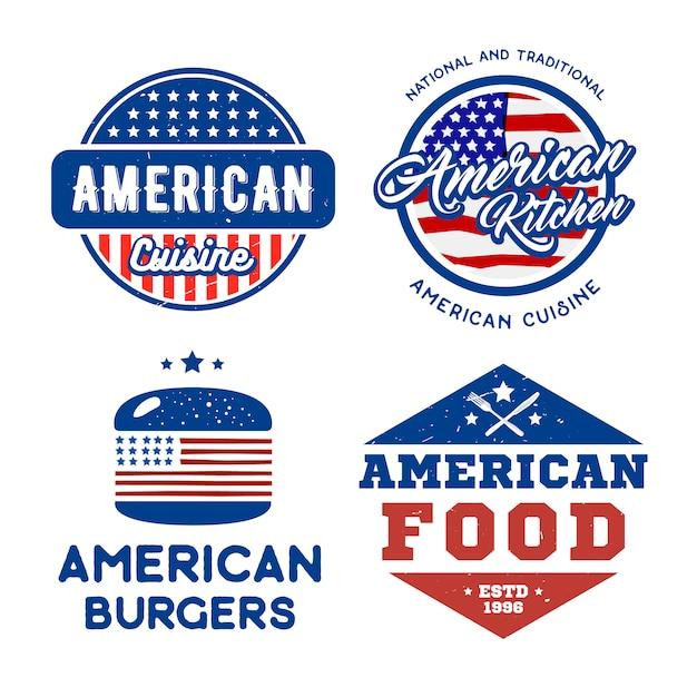 Satz amerikanische retro-logos Premium Vektoren