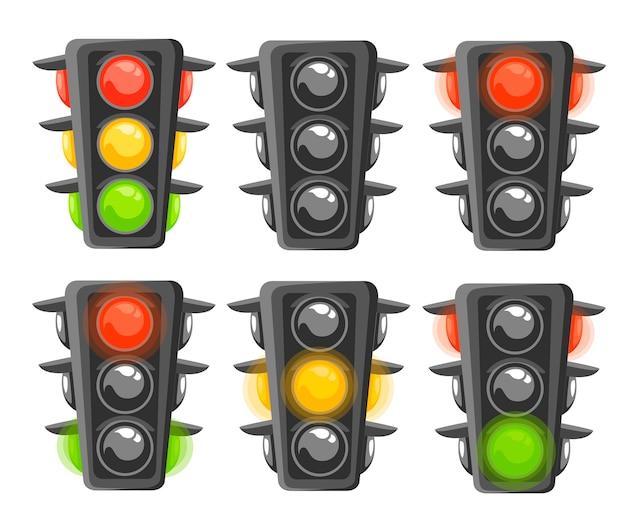 Satz ampelfolge. vertikale verkehrssignale mit roten, gelben und grünen lichtern. . illustration auf weißem hintergrund Premium Vektoren