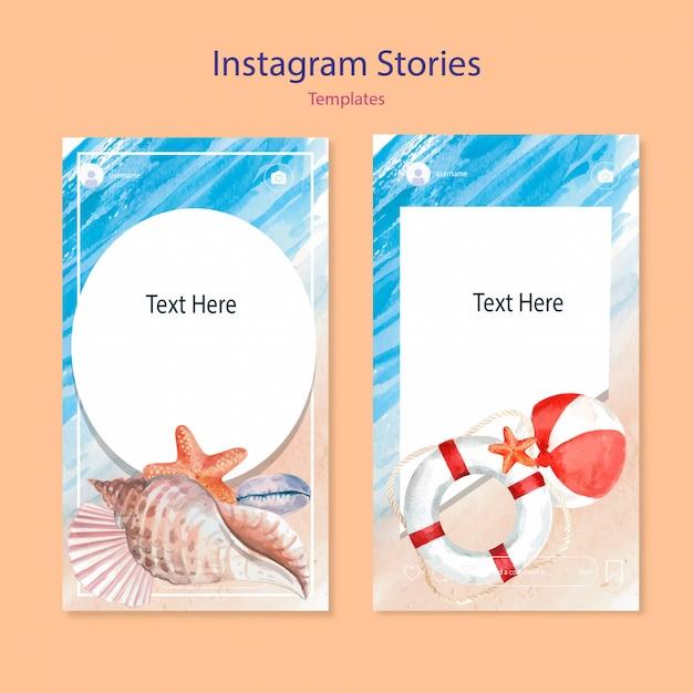 Satz aquarell instagram-vorlagen Kostenlosen Vektoren