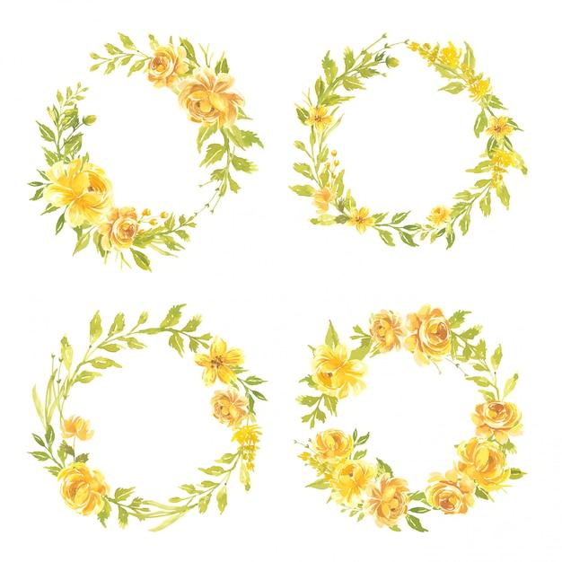 Satz aquarellblumen handgemalte blumenkranzillustration blumenstrauß rosa gelb Premium Vektoren