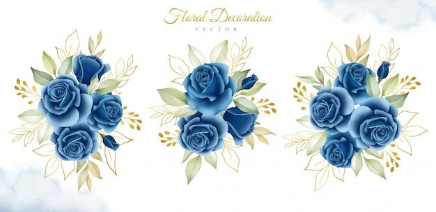 Satz aquarellblumensträuße der dunkelblauen rosen und der goldblätter Premium Vektoren