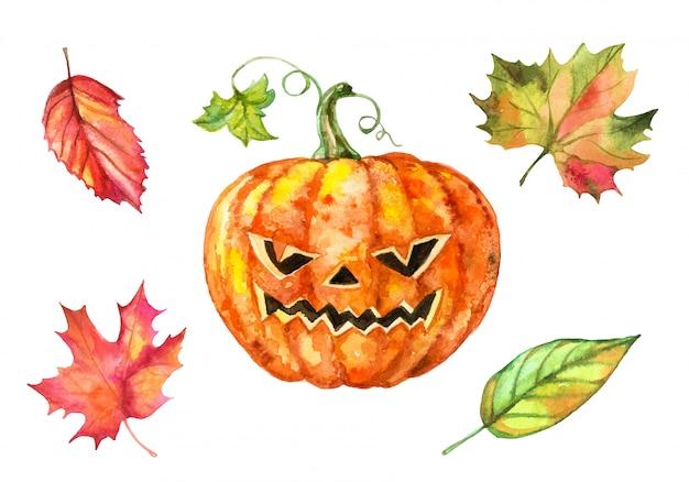 Satz aquarellelemente für halloween. kürbis und herbstlaub. Premium Vektoren