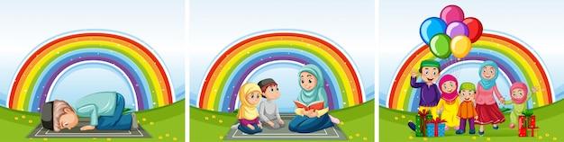 Satz arabische familien in traditioneller kleidung auf regenbogenhintergrund Premium Vektoren
