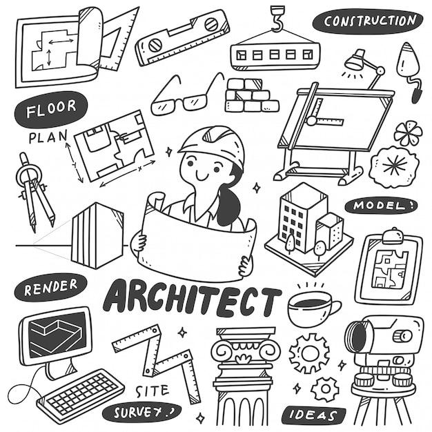 Satz architekten-equipment doodles Premium Vektoren