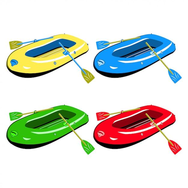 Satz aufblasbare gummiboote in verschiedenen farben isoliert Kostenlosen Vektoren