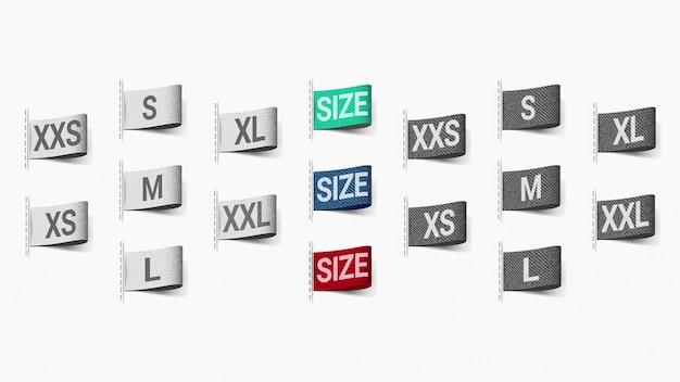 Satz aufkleber für kleidergröße mit beschaffenheit für realismus. 3d realistisch. Premium Vektoren
