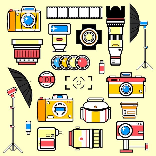 Satz ausrüstung für fotostudio. Premium Vektoren