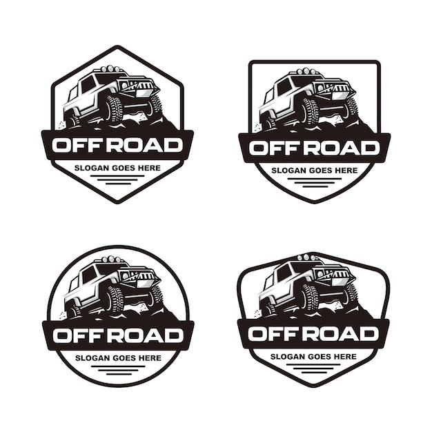 Satz auto-logoschablone weg von der straße Premium Vektoren