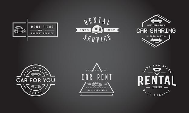 Satz autovermietungsetiketten Premium Vektoren