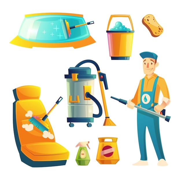 Satz autowaschservice mit zeichentrickfilm-figur. automobilservice mit kerl für das säubern Kostenlosen Vektoren