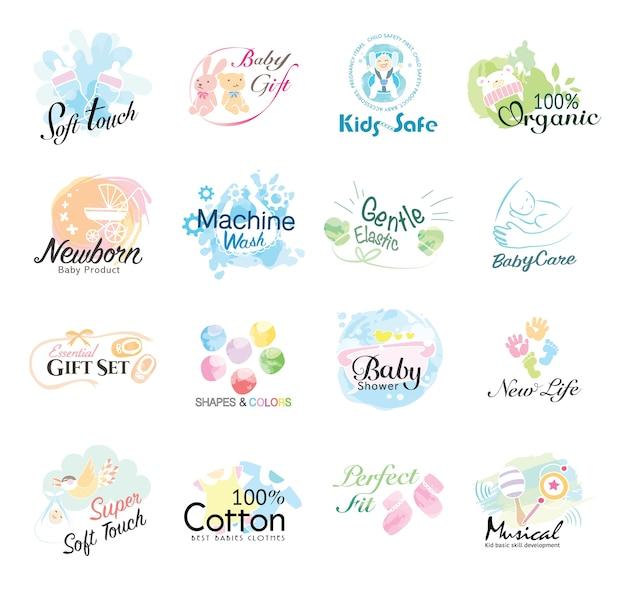 Satz babyikone für kinderprodukte und gesundes leben. Premium Vektoren