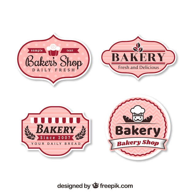 Satz bäckereiaufkleber Kostenlosen Vektoren