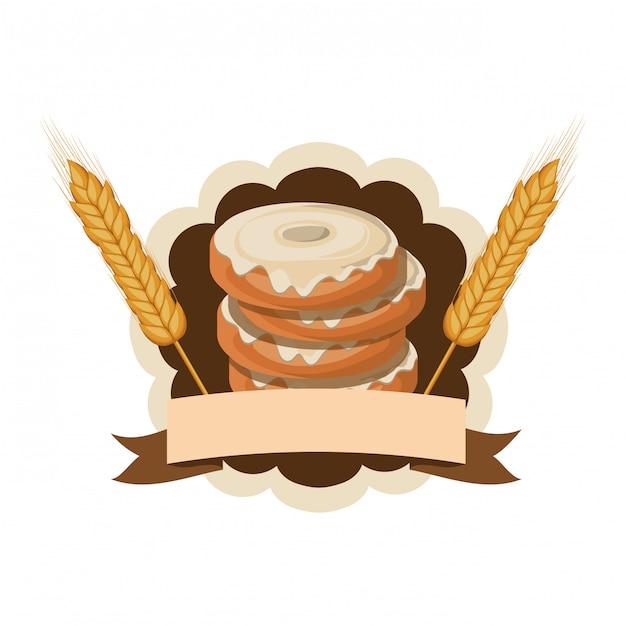 Satz bäckereischaumgummiringe frisch und köstlich Premium Vektoren